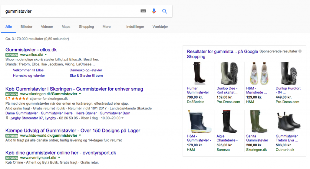 google shopping annoncer