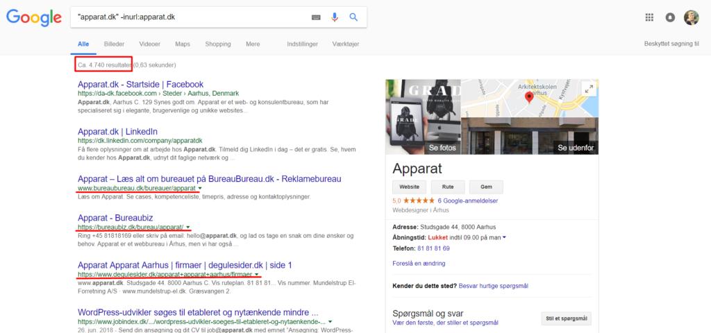 Lokale Citationer - forespørgsel på Google